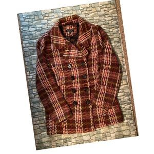 Woman's Plaid Pea Coat Sz XL